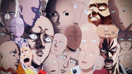One Punch Man - Saitama Faces Wallpaper Colour by SKIGZdoesART