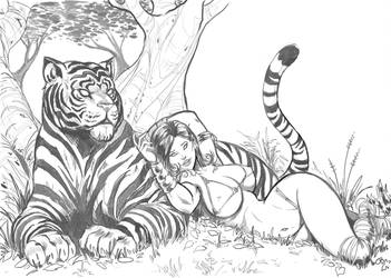 FB Tiger Girl Sketch by RodneyCJacobsen