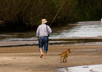 Fisherman and Dog by CaoticaNeutral