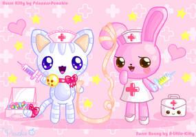 Nurse Kitty + Nurse Bunny by Princess-Peachie