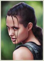 Lara Croft AJ portrait colour by redfill