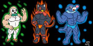 Pokemon: Sun and Moon Buff Anthro Starters by CaseyLJones