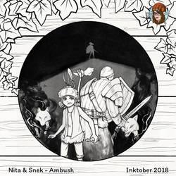 Inktober #16 Ambush by JujiBla