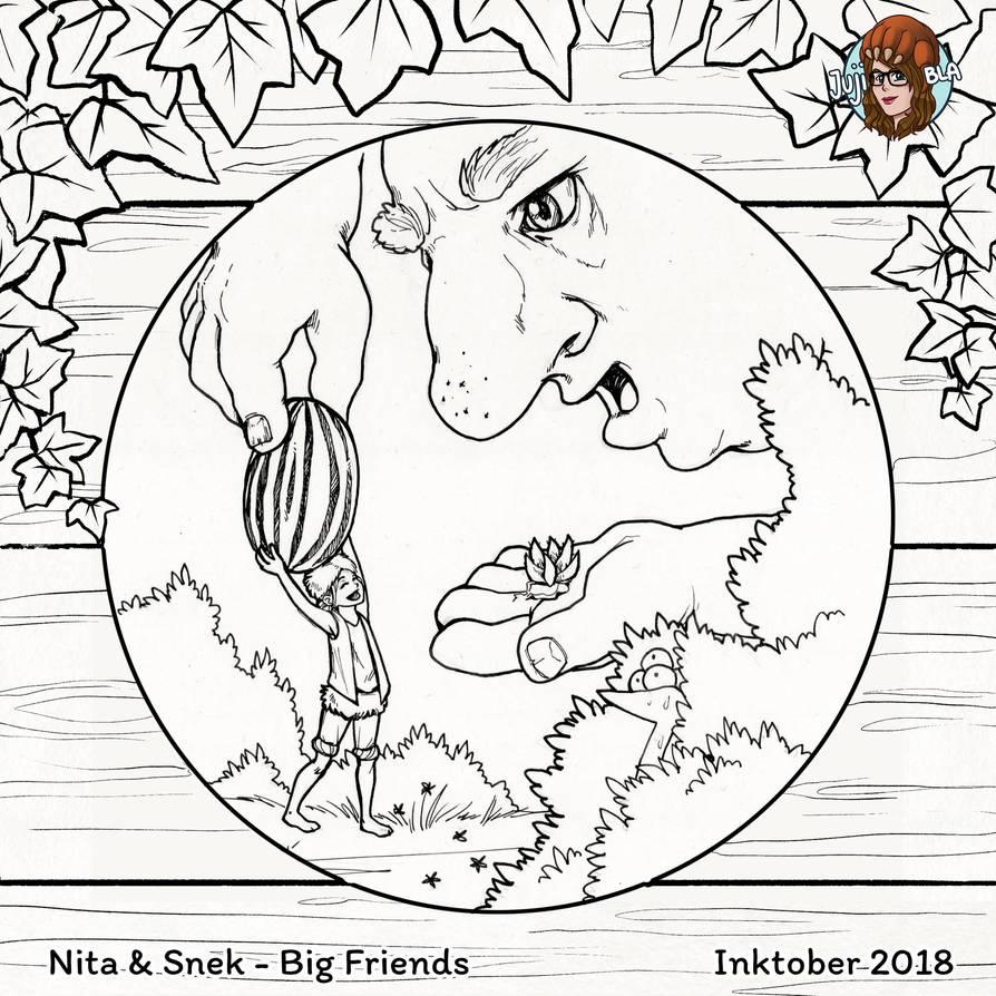 Inktober #25 Big Friends by JujiBla