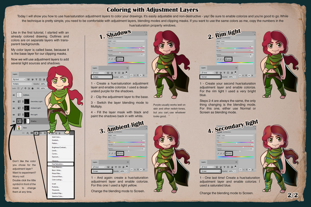 Tutorial - Coloring with Adjustment Layers 2/2 by JujiBla