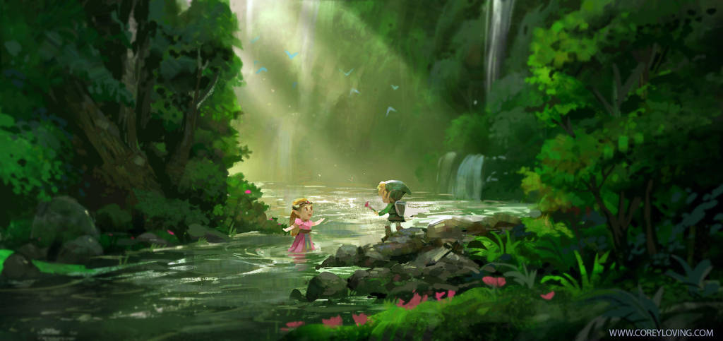 Link And Zelda : River Side By CoreyLoving by coreyart7