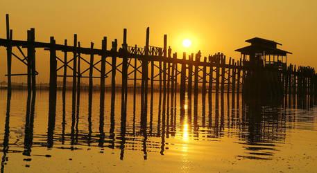 U Bein Bridge At Sunset 2 by CitizenFresh