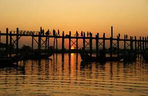 U Bein Bridge At Sunset 3 by CitizenFresh