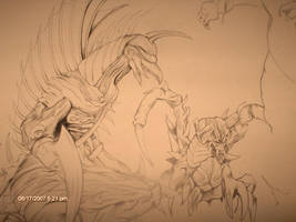 Gigan and Destroyah WIP by D-Angeline