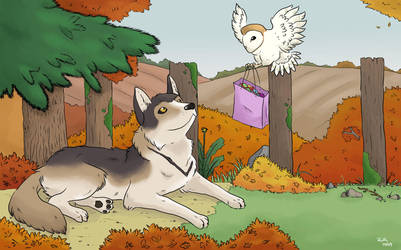 Autumnal Wolf and Owl by PleaseFreezeMe