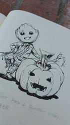 Baby Groot pumpkin by Ubermonster
