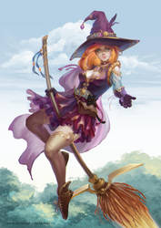 Witch on a broomstick by Ukitoki