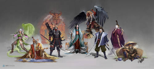 Feudal Japan Characters by Ukitoki