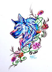Flower Wolf (Pen) by Lucky978