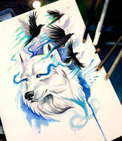 White Wolf and Ravens by Lucky978