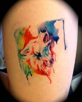 Rainbow Wolf Temporary Tattoo by Lucky978