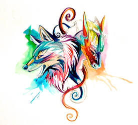 Dragon and Wolf Sketch Design by Lucky978