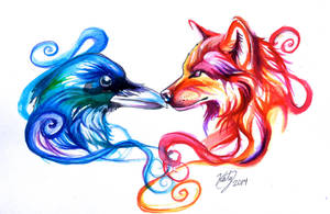 Ice Raven and Fire Wolf Tattoo by Lucky978