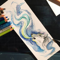 day 51- howling wolf bookmark by Lucky978
