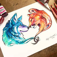 Wolf and Mountain Lion by Lucky978