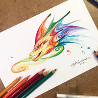 Rainbow Dragon Bust by Lucky978