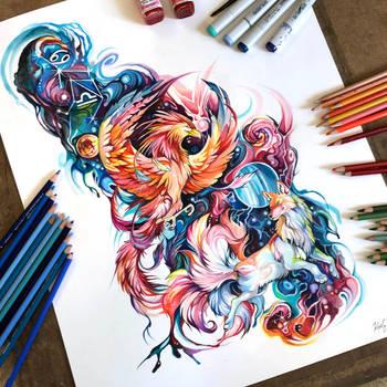 Cosmic Phoenix Tattoo by Lucky978