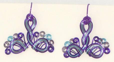 Purple Peacock Earrings by Catgoyle