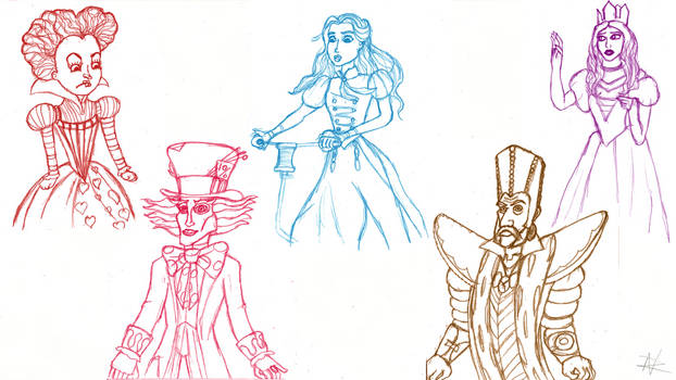 Alice Through the Looking Glass sketchdump by ZoraCatone