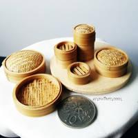 1:12 scale miniature dimsum steamer baskets 2 by Snowfern