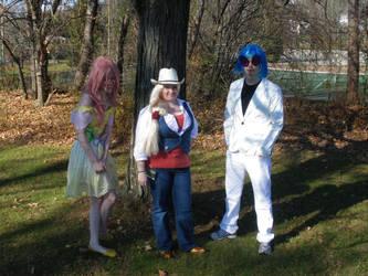 Fluttershy Applejack and DJ Pon-3 by animedreamgirl121