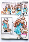 platelet-chan and eevee by flare029