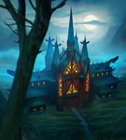 Moonlit Church by Daazed-DA