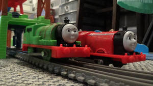 Trackmaster Percy and James (Before Custom Work) by ThomasZoey3000