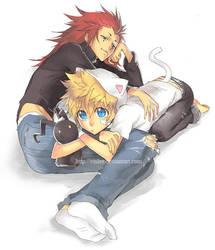 roxas and axel by einlee