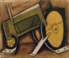 tractor abstract painting by TOMMERVIK