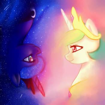 Princess Celestia and Princess Luna by Iris1039