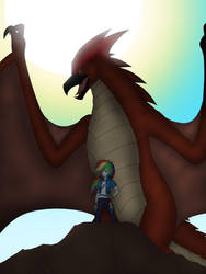 Rainbow Dash and Rodan by Pyrus-Leonidas