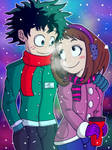 Izuku X Ochako Winter Walk by JFMstudios