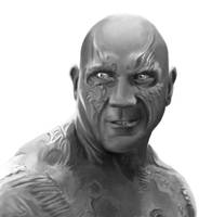 Drax the Destroyer Digital Painting  (Gray Tones) by JZINGERMAN