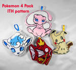 Pokemon 4 pack ITH Pattern by TrashKitten-Plushies