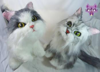 Mochi and Mimi Plushies by TrashKitten-Plushies