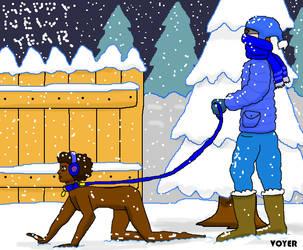 MCed puppy-gal gets snowy walk by hypnovoyer