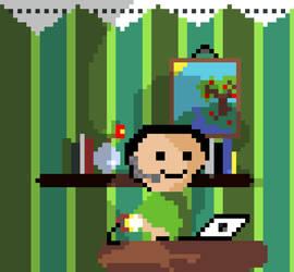 Lil' guy sitting at hes desk by Zaigwast