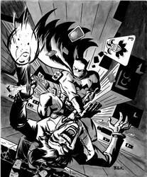 Batman Joker ink wash by DaveBullock