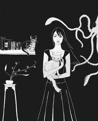 Portrait with Cats and Squid by scarletwish