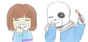 Frisk and Sans by NoruYagami