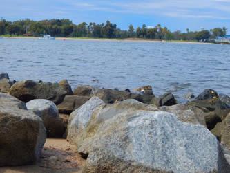 Rocks, sea, trees by Worldboy1