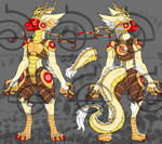 Golden dragon themed protogen closed by cross-the-swirl