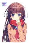 Render Cute Anime Girl With Scarf by Follolam