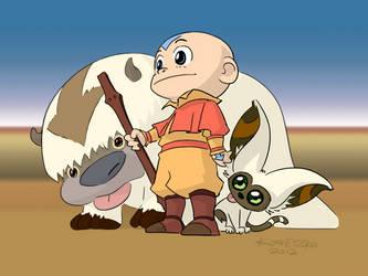 Aang Appa Momo by Bryan Konietzko coloured by U-No-Poo